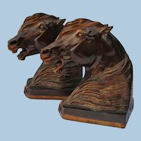 Dramatic Arabian Stallion Figurine Horse Bookends Artist Signed by Gladys Brown Edwards