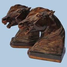 Dramatic Gladys Brown Edwards Signed Arabian Stallion Horse Bookends Figurine