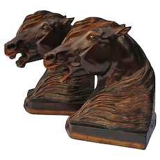 Dramatic Gladys Brown Edwards Signed Arabian Stallion Horse Bookends Figurine