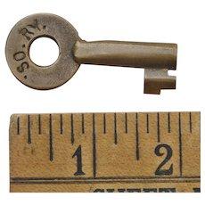 Vintage Double Marked Southern Railway SORY Railroad Brass Switch Key