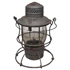 Early 1900s Pennsylvania Railroad ArmspearTall Globe Lantern With Clear Etched Melon Shape Globe PRR