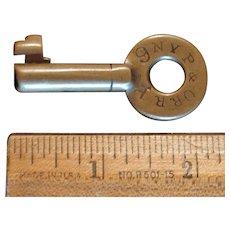 Antique New York, Pennsylvania & Ohio Railroad Brass Ringed Barrel Switch Key NYP&O Nypano