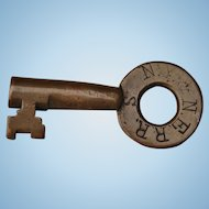 Rare Antique 1800s New York & New England Railroad Brass Tapered Barrel Switch Key by Howard