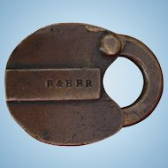 Antique R&BRR Rutland & Burlington Railroad Brass Switch Lock