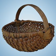Vintage Small Splint Melon Shape Gathering Basket with Carved Handle