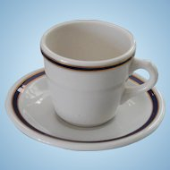 Early Union Pacific Railroad China Blue & Gold Demitasse Cup and Saucer Set