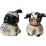 """TWO Vintage Hubley Cast Iron """" FIDO """" Tiny Cartoon Puppy Paperweight Dog Figurines"""