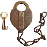 Antique Fitchburg Railroad Brass Heart Shape Lock and Key Set
