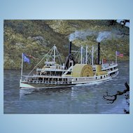 Steamship Mary Powell by Len Tantillo Signed LE Litho Print w/ Authentic 1903 Pass Hudson River Steamboat Ship