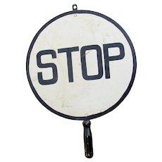 Vintage Railroad Crossing Flagman STOP Hand Held Traffic Warning Sign
