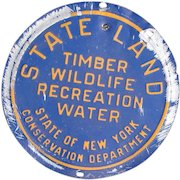 Pre-1970 Vintage New York State Conservation Department STATE LAND Management Metal Sign