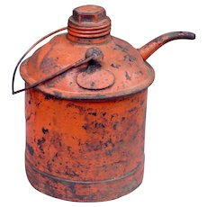 Antique Central Vermont Railroad CVRR Steel Reinforced Handled Oil Can