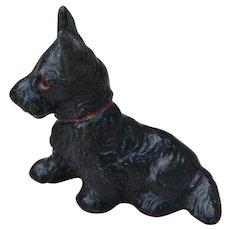 Vintage Hubley Miniature Scotty Dog Cast Iron Place Card Holder Scottie Scottish Terrier