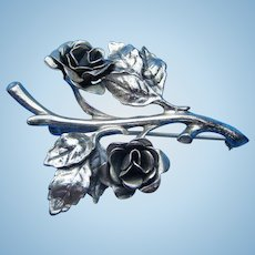 Vintage Danecraft Sterling Full Blown Roses Brooch Pin 1970s