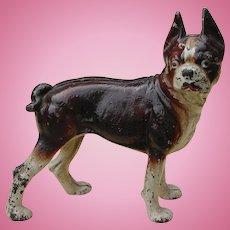 SEPTEMBER SALE: Scarce Brown Hubley Boston Bull Terrier Dog Full Body Cast Iron Doorstop