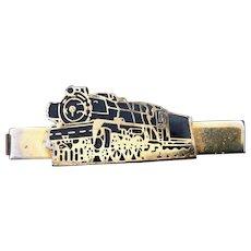 Vintage Sharp! Black Enamel on Gold Tone Railroad Locomotive Tie Clip