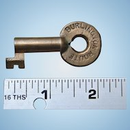 Vintage Burlington Route Railroad Brass Switch Key CB&QRR