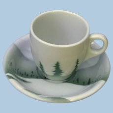 Scarce Great Northern Railroad China Demitasse Cup and Saucer Set
