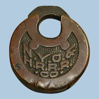 Antique New York Central & Hudson River Railroad Six-Lever Pancake or Push Key Lock