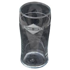 Vintage Illinois Central Railroad Tall Drinking Glass Tumbler ICRR