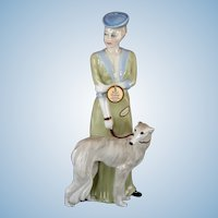 """Imposing Royal Doulton """"Park Parade"""" Lady with Borzoi Wolfhound Dog:  Tall 12"""" Figurine Reflections"""