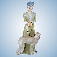 "Vintage Royal Doulton ""Park Parade"" Lady with Borzoi Dog LARGE 12"" Figurine 1986 Reflections"