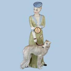 "Pristine Royal Doulton ""Park Parade"" Lady with Borzoi Wolfhound Dog Figurine w/ original tag, 12"" Retired Reflections"