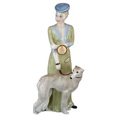 """Pristine Royal Doulton """"Park Parade"""" Lady with Borzoi Wolfhound Dog Figurine w/ original tag, 12"""" Retired Reflections"""