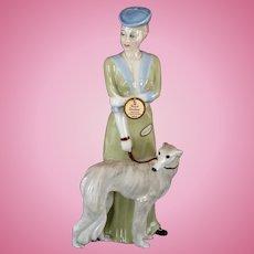 "Vintage Royal Doulton ""Park Parade"" Lady with Borzoi Dog LARGE 12"" Figurine 1986 Reflections"