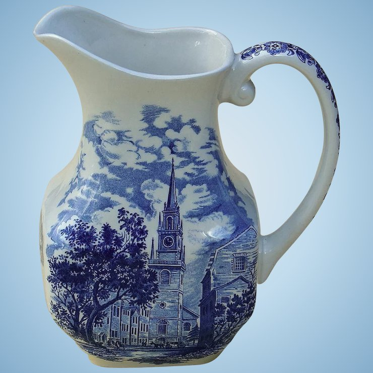 Vintage Liberty Blue China Large Milk Pitcher Staffordshire Made In Time S Treasures Railroad Country Ruby Lane