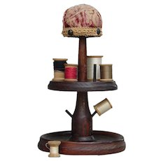 Vintage Circa 1930s Dark Oak Wood Mushroom Pincushion Sewing Caddy with Old Spools and Tapestry Top