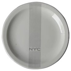 New York Central Railroad China Gray Mercury Dining Car Plate