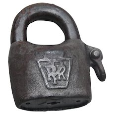 "Antique Huge Pennsylvania Railroad Scandinavian ""Potato"" Lock PRR Keystone Logo Star Lock Works"