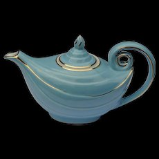 """Vintage MINT Hall China Aladdin """" Blue Turquoise """" With Gold Decoration Tea Pot Teapot - Red Tag Sale Item"""