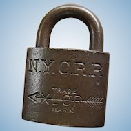 "New York Central Railroad Brass XLCR (""Excelsior"") Padlock by Corbin"