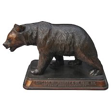 "Vintage Chicago Milwaukee & St. Paul Railroad Grizzly Bear Figurine ""Gallatin Gateway to Yellowstone"" CM&StPRY"
