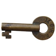Vintage Michigan Central Railroad Brass Switch Key MCRR Railway