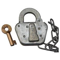Scarce Boston & Maine Railroad Brass Key with Steel Switch Lock Working Set B&MRR Railway