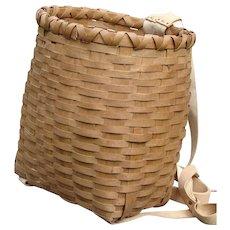 SUPERB Vintage Child's Ash Splint Adirondack Pack Basket ca. 1950s Sound and Solid