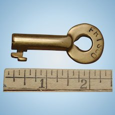 Vintage FRISCO Railroad Brass Switch Key by Adlake St. Louis–San Francisco Railway