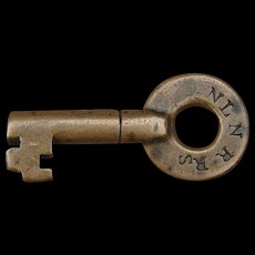 Antique 1800s NLNRR New London & Northern Railroad Brass Tapered Barrel Switch Key