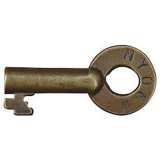 Vintage New York Ontario & Western Railroad Brass Switch Key NYOW Railway