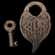 Antique Pennsylvania Railroad Brass Fancy Castback Switch Lock and Key PRRCO Set