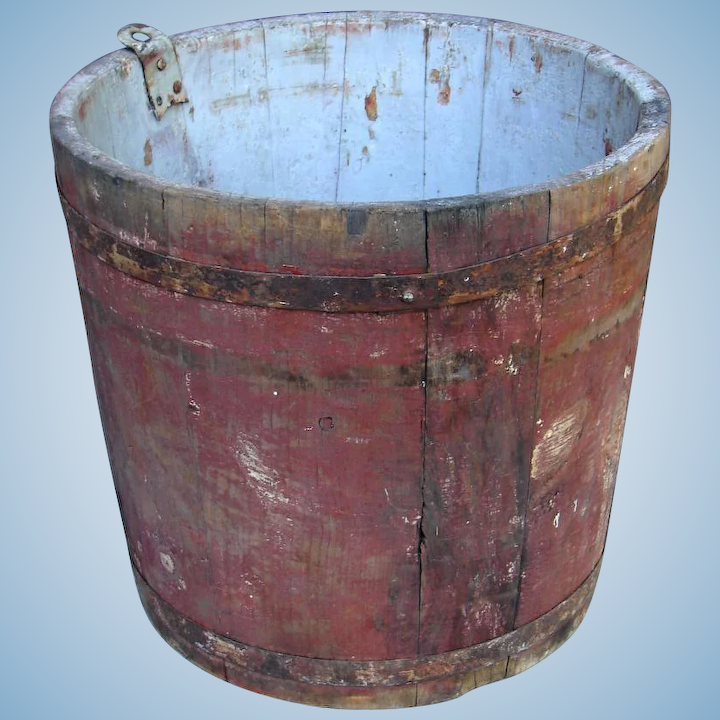 Antique Authentic Vermont Wooden Maple Syrup Sap Bucket Original Old Time S Treasures Railroad Country Ruby Lane