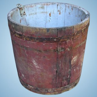 Antique Authentic Vermont Wooden Maple Syrup Sap Bucket Original Old Red Treen