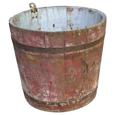 Antique Vermont Sugarbush Wooden Maple Sap Collecting Bucket in Primitive Original Old Red