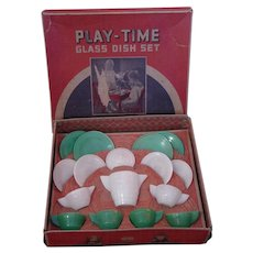 Vintage Akro Agate Play-Time Glass Dish Set : 4 Place Setting Children's Tea Party Glassware in Original Box