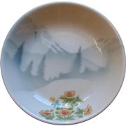 Vintage Great Northern Railway GNRY Railroad China Mountains & Flowers Soup Bowl Dish