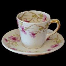 Vintage New York Central Railroad China LImoges Porcelain Demitasse Cup & Saucer Set NYCRR
