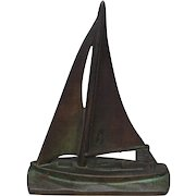 Vintage Sailboat Doorstop Cast Iron with Bronze or Brass Wash Door Stop